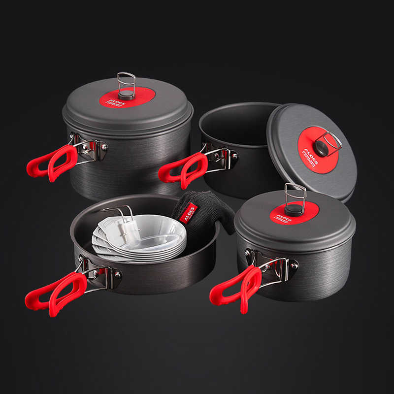 Alocs Outdoor Folding Camping Pot Cookware Mess Kit Pot Ketel Air Frying Pan Mangkuk Sendok Memasak Set Backpacking Piknik Hiking