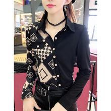 Color matching slant button shirt women's Han style printing slim fit large size top versatile base coat women