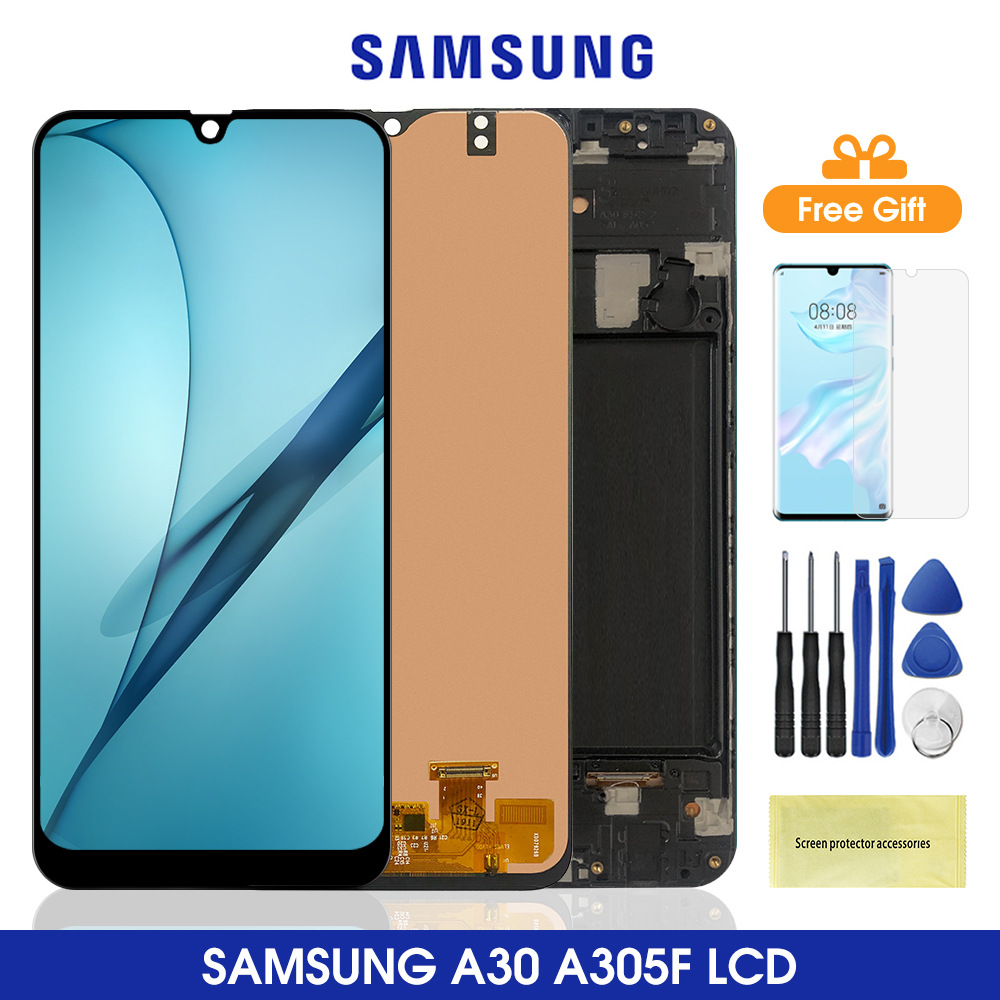 YANGJ Phone LCD Screen Super AMOLED Material LCD Screen and Digitizer Full Assembly for Galaxy M30s