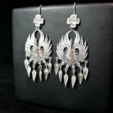 Peacock 999 Sterling Silver Earrings For Women Big Drop Tassel Earrings Bohemian Dangle Vintage Ethnic Handmade Luxury Jewelry