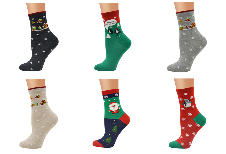 Santa's Socks Pattern Pure Cotton Female Socks Cute Cartoon Personality Trend Middle Tube Christmas Series Socks