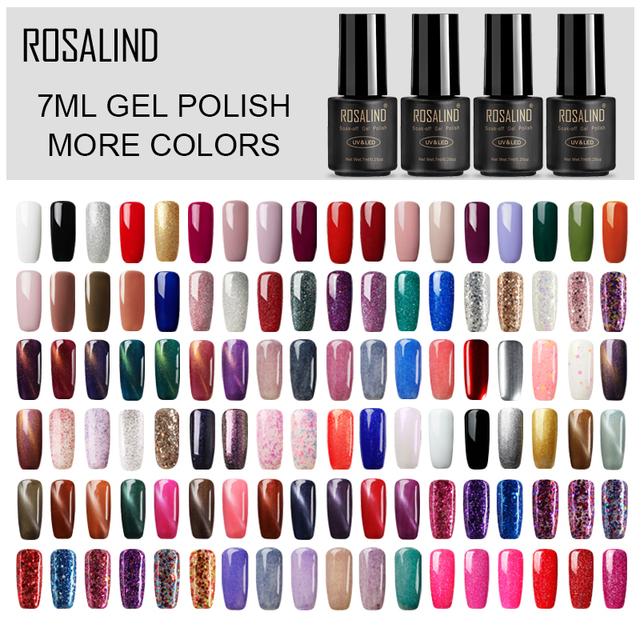 ROSALIND Nail Gel Polish 7ML Hybrid Nail Art Semi Permanent gel varnishes Soak Off Top White Gel Lacquer
