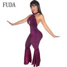 FUDA Sexy Romper Women Bandage Bodycon Jumpsuits Women Cross Halter Summer Hollow Out Playsuits Femme Elegant Night Party Wear недорого