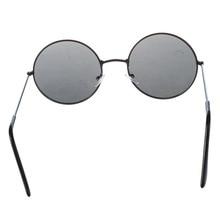 Trendy Men Women Metal Frame Black Lens Round Sunglasses Glasses Eyewear cut out lens oversized metal square sunglasses
