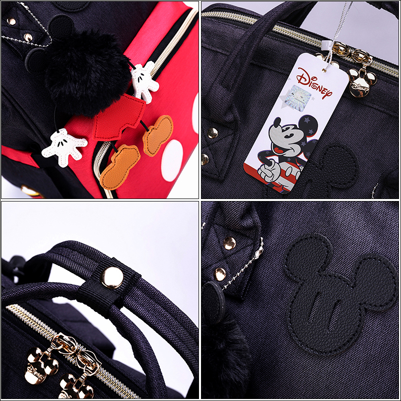 Disney 3D Doll Minnie Mickey Classic Red Diaper Bags Mummy Maternity Backpack Nappy Bag Large Capacity Baby Care Bag For Travel