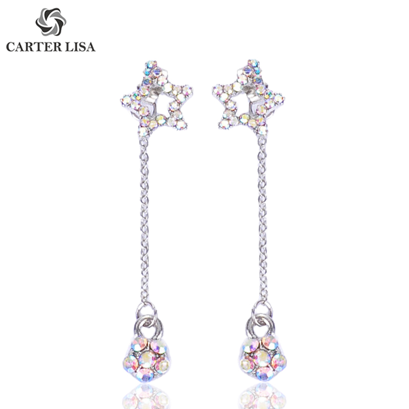 CARTER LISA Korea Bling AB Crystal Star Silver Long Statement Drop Dangle Earings For Women Girl Fashion Modern Jewelry Gifts