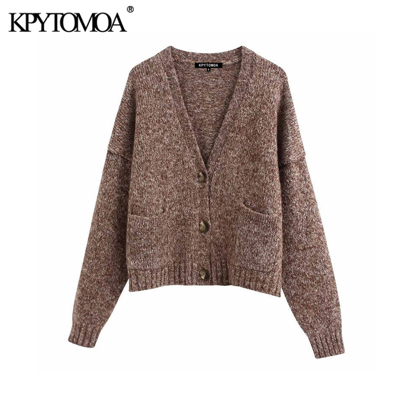 Vintage Stylish Pockets Loose Cropped Knitted Cardigan Sweater Women 2020 Fashion V Neck Long Sleeve Female Outerwear Chic Tops