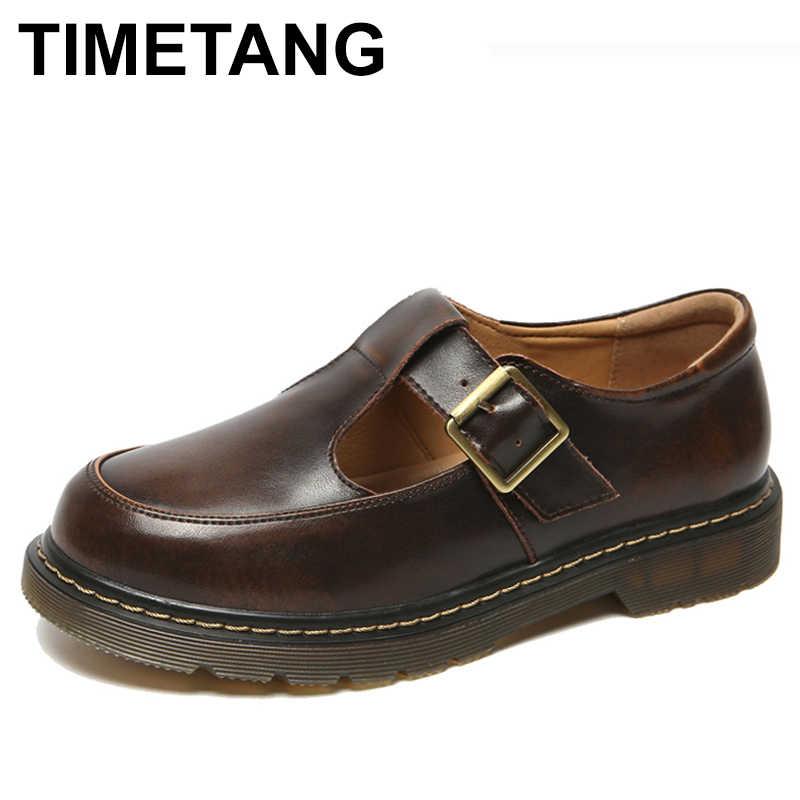 TIMETANGMori Kız İngiliz Tarzı Siyah Asansör Kadın Oxfords Flats Ayakkabı Yuvarlak Ayak Vintage Kahverengi Çin Mary Jane Platformu Kalın