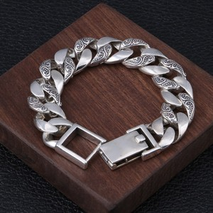 Image 3 - BOCAI 100% real s925 pure silver jewelry personality rattan grass silver bracelet for men, domineering Thai silver man bracelet