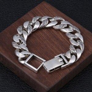Image 3 - BOCAI 100% ريال s925 الفضة النقية مجوهرات شخصية الروطان العشب الفضة سوار للرجال ، الاستبداد التايلاندية الفضة رجل سوار