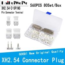 560PCS 80Set/Box Kit XH2.54 MM 2P-5Pin Plug Straight Needle Terminal Socket Male/Female Wire Jumper Head Connector Adapter Plug