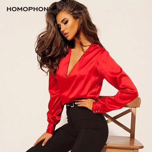Homophony Woman Blouse Deep V-neck Sexy Blouse Women Elegant Long Sleeve Button Solid Office Blouses Simple Autumn Women Cloth