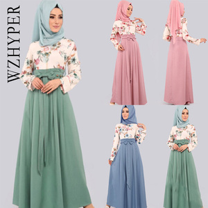Women Floral Dresses Turkey Islamic Dubai  Arabic Hijab Muslim Long Abaya Bow Ruffles Casual Fashion O Neck Lady Long Maxi Dress