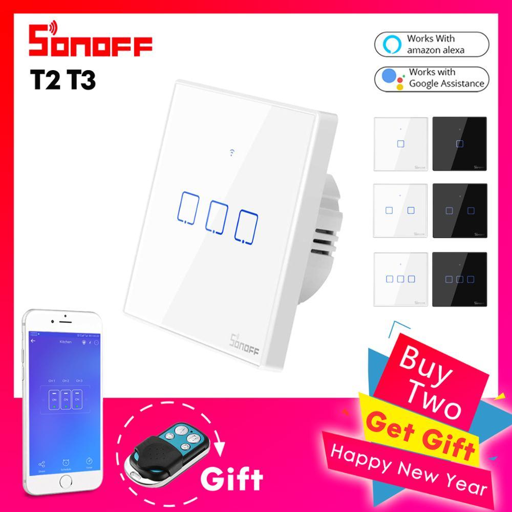 433Mhz Control Remoto RF Inal/ámbrico Compatible con Google Home//Nest y Alexa T2EU3C-TX SONOFF 3CH Interruptor de Luz de Pared WiFi Escena Inteligente Control de App//T/áctil Temporizaci/ón