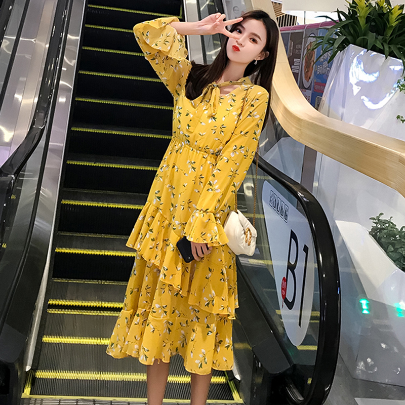 2019 Autumn Chic Long Sleeve Dress Women Bowtie Ruffle Printed Elegant Ladies Dresses Black S XL Flare Sleeve Casual Robe Femme in Dresses from Women 39 s Clothing