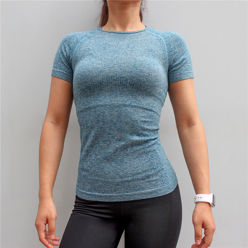 Vital seamless gym top shirt for women fitness yoga top breathable yoga shirts active sports shirt 1