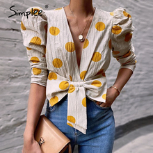 Simplee Sexy v-neck lace up women blouse shirt