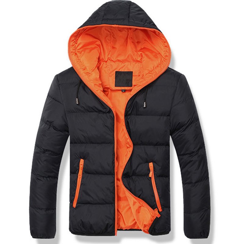 High Quality Mens Parkas Coats Solid Loose Zipper Hooded Winter Clothing Casual Warm Windproof Elastic Men Winter Jackets Simple