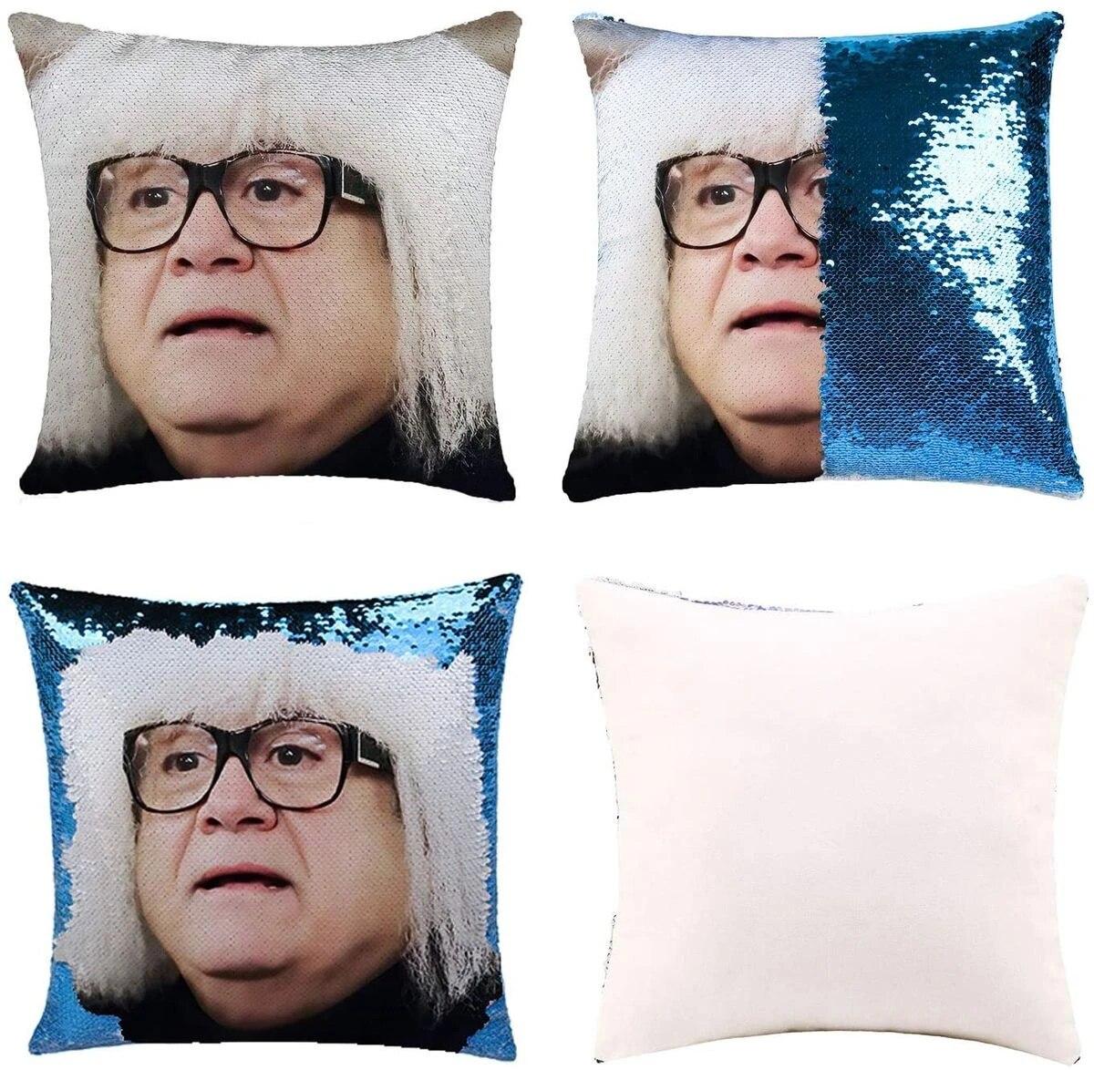 funny diy sequin pillows cover danny devito face magic reversible throw pillow cover decorative change color pillowcase