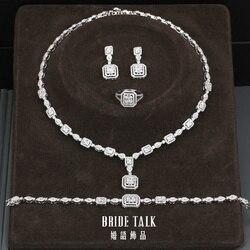 Невеста говорить Роскошные геометрические кубический циркон серебряный цвет ожерелье серьги браслет кольцо набор украшений для женщин Св...
