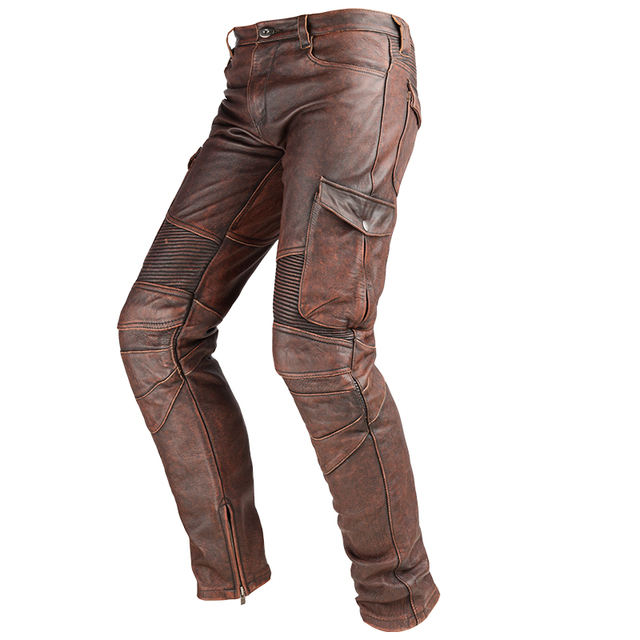 2020 Black Men American Style Motorcycle Leather Trousers Plus Size 4XL Genuine Thick Cowhide Biker's Pants FREE SHIPPING 4