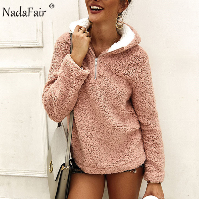 Nadafair Winter Warm Faux Fur Casual Oversized Fluffy Hoodie Women Fleece Sweatshirts 2019 Autumn Ladies Plush Pullovers Bangtan