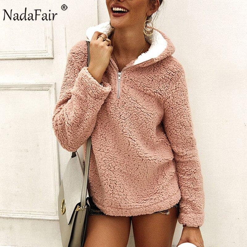 Nadafair, зимняя, теплая, искусственный мех, повседневная, негабаритная, пушистая, с капюшоном, для женщин, флисовые толстовки, 2019, Осенние, женские, плюшевые пуловеры Bangtan