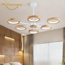 Modern LED Wooden Chandelier Lighting For Living Room Bedroom Tricolor Light Chandeliers Ceiling Nordic Lustre Art Deco Lustres