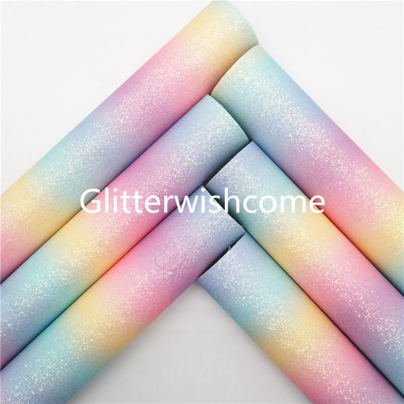 Ткань Glitterwishcome 21x29 см, Размер A4, винил для бантов, радужная блестящая кожа, ткань из искусственной кожи, листы для бантов, GM336A