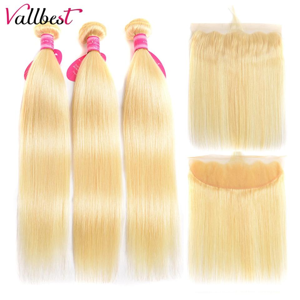 H9886e8c909c740c7bd7ee9b898ea4c10W Vallbest 613 Bundles With Frontal Middle Ratio Brazilian Straight Hair 3 Bundles With Closure Remy Blonde Bundles With Frontal