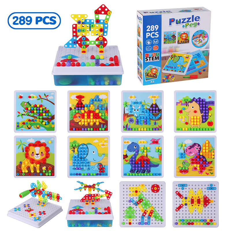 289PCS Mosaic Building Set 3D Puzzle Screw Group Toy 2 In 1 Kids Creative Mushroom Nail Puzzle Buttons Board DIY Educational Toy