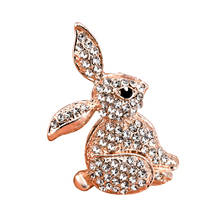 Crystal Rabbit Brooches for Women Brooch Rose Gold Plated Animal Jewelry Halloween Gift Rhinestones Pin Badges