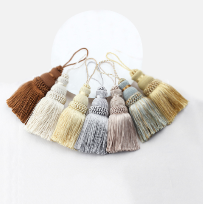 2Pcs Polyester Silk Tassels Fringe Key Tassels Trim Tassels Crafts For Sewing Curtains Accessories Home Decoration Hanging Rope