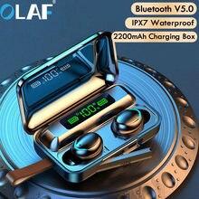 Fone de ouvido sem fio bluetooth v5.0 f9 tws fone de ouvido sem fio hd estéreo display led com 2000mah fone de ouvido com microfone