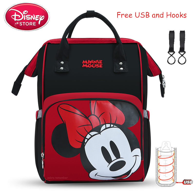 Genuine Disney Mummy Bags Baby Mom Diaper Backpack Mickey Mouse Bags For Baby Care Maternity Travel Handbag USB Bottle Heating