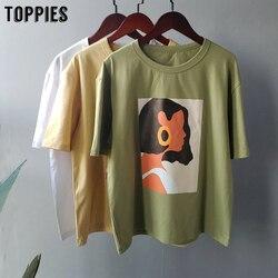 Toppies 2020 летние футболки с персонажами Модные топы для девочек футболки с короткими рукавами и принтом Корейская женская одежда 95% хлопок