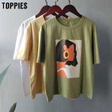 Toppies 2020 summer character t-shirty fashion girls topy koszulki z krótkim rękawem drukowanie koreańskie ubrania damskie 95% bawełna(China)