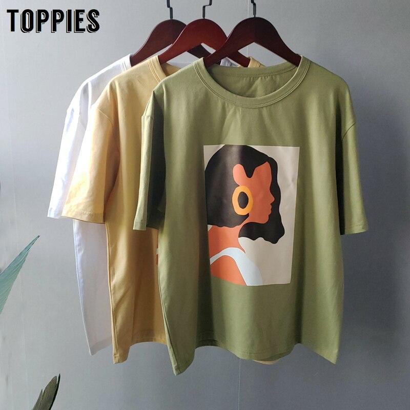 Toppies 2020 夏キャラクターtシャツファッションの女の子は半袖プリントtシャツ韓国女性服綿 95%