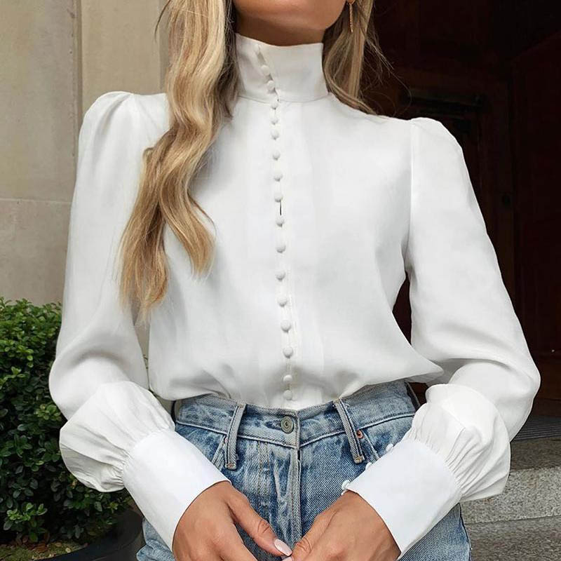 Elegant Office Ladies Stand Buttons Women Blouse Shirt Letter Print Puff Long Sleeve Tops Casual Blusas Streetwear White G1181