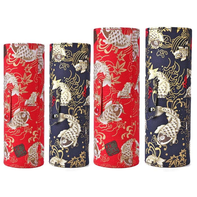 Retro Print Cloth Makeup Brush Holder Embroidery Technique Travel Cosmetic Pens Storage Cup Box Portable Makeup Organizer