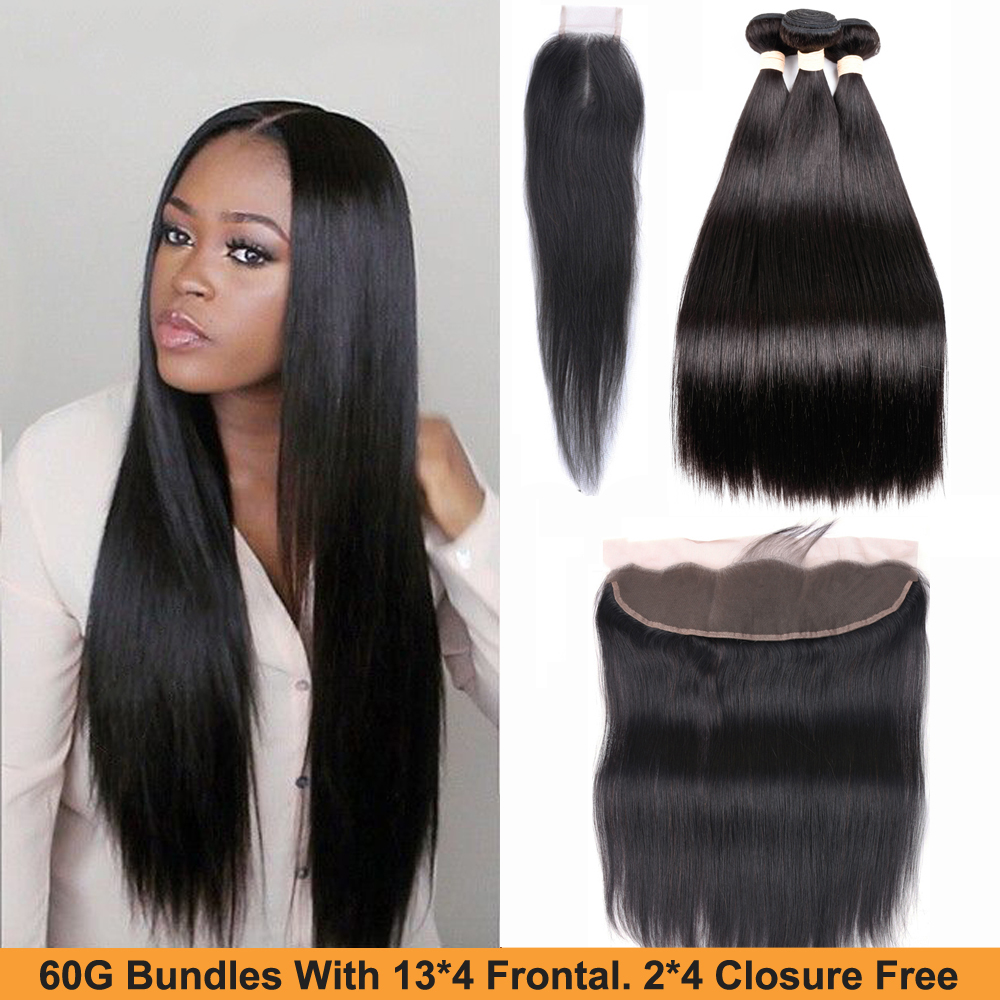 Sapphire Straight Hair Bundles With Frontal Closure 13X4 Lace Frontal With Bundles Indian Remy Human Hair 3 Bundles With Closure