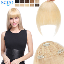 SEGO 25g Remy Human Hair Bangs 3 Clips in Hair Front Fringe Hand Tied Straight Hairpiece Wig Natural  Color
