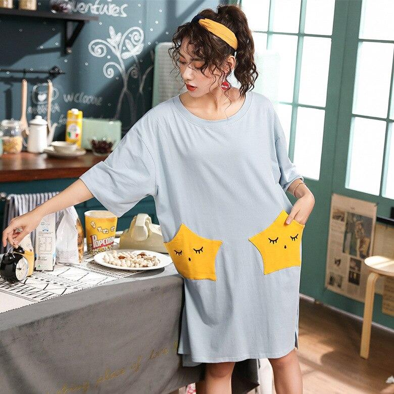 Short Sleeve Nightgown Women's Summer Nightgown Blue Star Pocket M-XXL (16 Yuan) Home-feeding Original