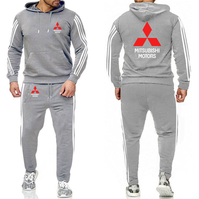 Hoodies Men Mitsubishi Car Logo  Casual Fashion Harajuku Printed Sweatshirt Fashion Men Hoodie+Pants 2Pcs Sporting 3