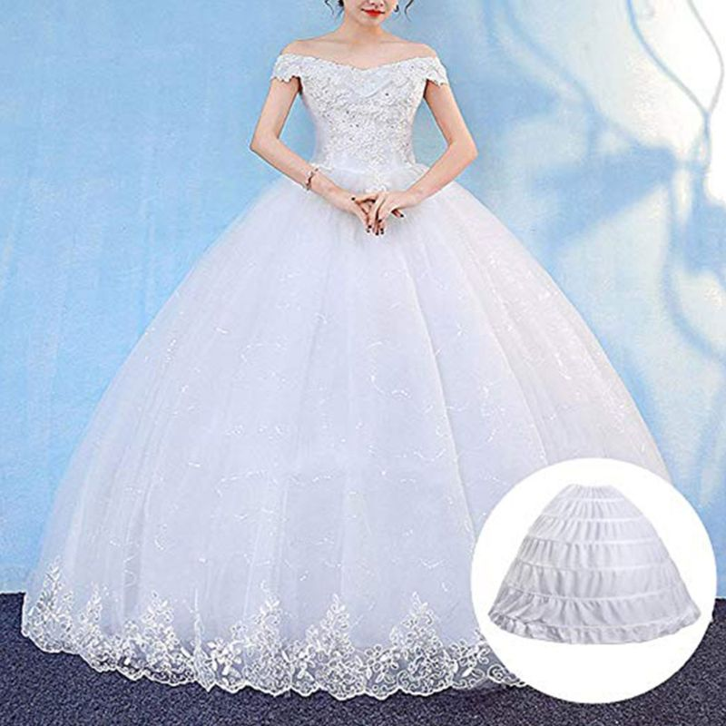 6 Hoops No Yarn Large Skirt Bride Bridal Wedding Dress Support Petticoat Women Costume Skirts Lining  50PE