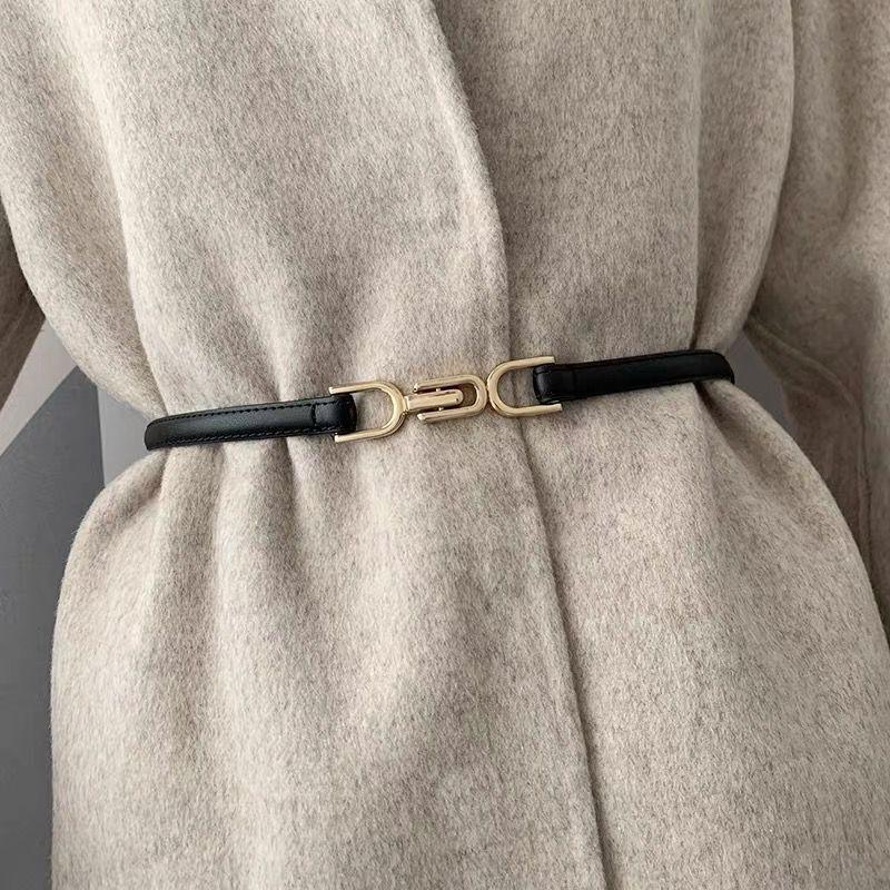 Adjustable PU Leather Ladies Dress Belts Skinny Thin Women Waist Belts Strap Gold Color Buckle Female Belts pasek damski