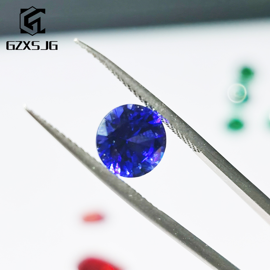 GZXSJG Round 4mm Lab Grown Blue Sapphire Loose Gemstone for Jewelry personal Customize Created Stone for Wholesale Jewelry DIY