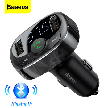 цена на Baseus FM Transmitter Bluetooth Car Kit Handsfree FM Modulator Car Wireless Aux Radio Tranmiter MP3 Player With USB Car Charger