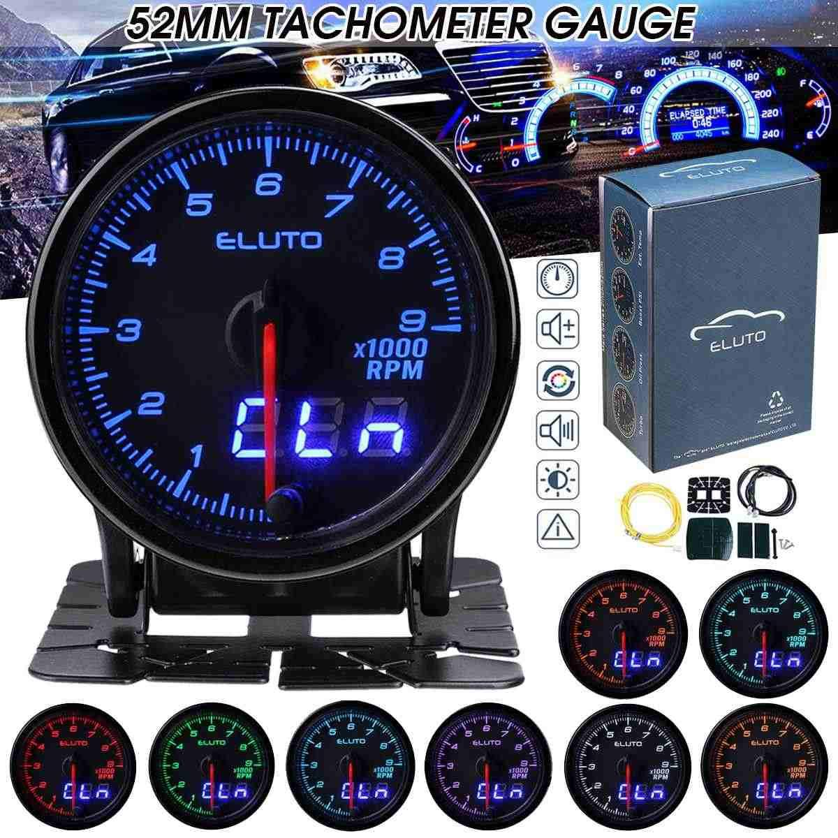 """Universal 2/"""" 52mm 7 Color LED Car 0-8000 RPM Tachometer Tacho Gauge Meter 12V"""