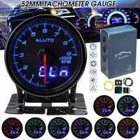 Tacómetro Universal para coche Eluto  2 pulgadas  52mm  medidor de RPM  indicador Digital y con clavija indicadora doble  pantalla LED de 10 colores teñida  tacómetro facial